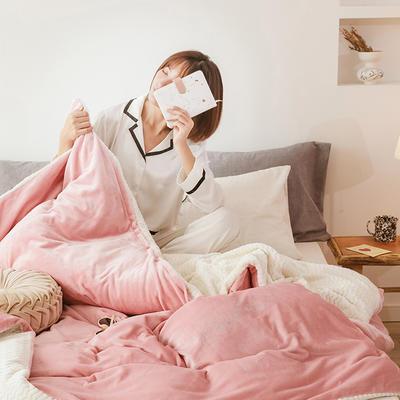 2020新款牛奶绒加贝贝绒可拆洗冬被被子被芯 被套 180x220cm单被套 粉色