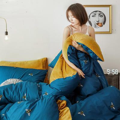 2020新款轻奢风棉加绒可拆洗冬被被子被芯 200X230cm单被套 宝蓝蜜蜂