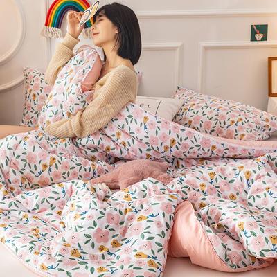 2020新款全棉印花被芯冬被被子 150x200cm3斤 粉色日记