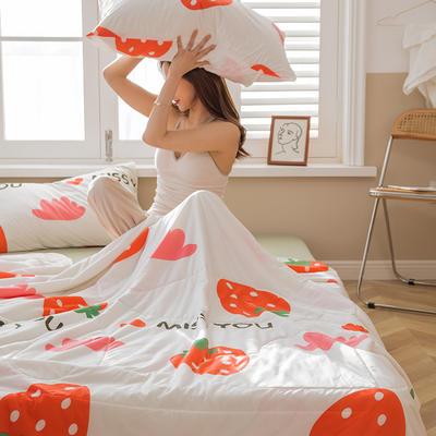 2021新款凉感丝大豆夏凉被 180x200cm 草莓甜心