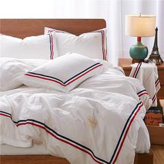 全棉水洗棉工艺款TB系列四件套 1.35m(4.5英尺)床—(小号三件) 白白白