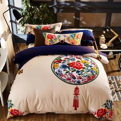 全棉喷气磨毛标准和加大 定版尺寸 1.8m(6英尺)床 1 淡墨静彩