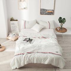 全棉色织运动风工艺款夏被(空调被) 48X74CM枕套1对 小白