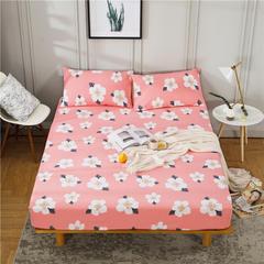 全棉老粗布床笠 床笠120cmx200cm+30cm 繁花朵朵粉