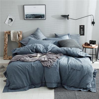 全棉色织摩登四件套 1.2m(4英尺)床 健康蓝