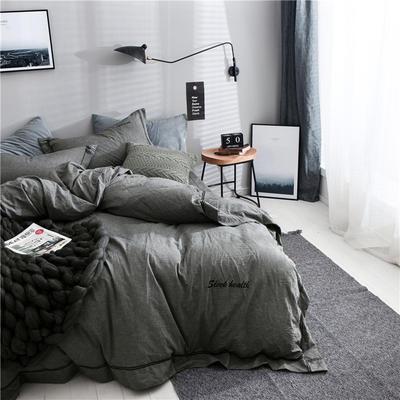 全棉色织摩登四件套 1.35m(4.5英尺)床 奢华灰