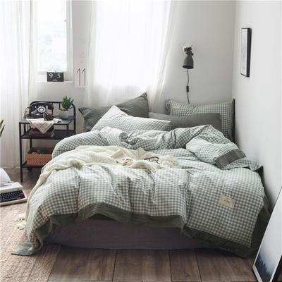 全棉色织精致北欧风系列四件套 1.35m(4.5英尺)床 西芙蓝