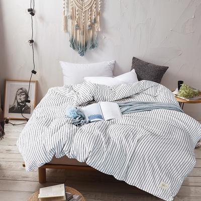 春皖全棉色织布标系列四件套 1.35m(4.5英尺)床(小号三件套) 雅白条