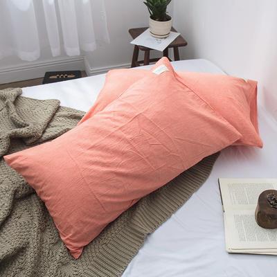 春皖全棉色织布标系列单枕套 48cmX74cm 巴西桔