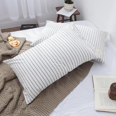 春皖全棉色织布标系列单枕套 48cmX74cm 雅白条