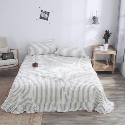 春皖全棉色织布标系列单床单 160cmx230cm 雅白条