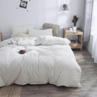 春皖全棉色织布标系列单被套 150x200cm 雅白条