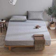 全棉老粗布床笠 床笠120cmx200cm+30cm 素雅灰