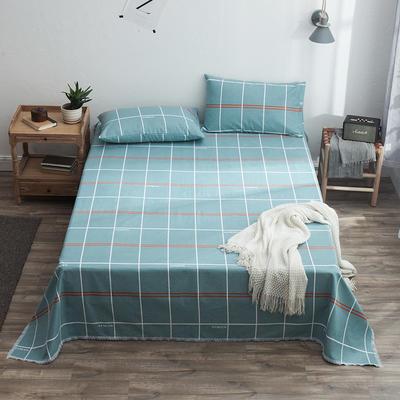 全棉老粗布床单款三件套 1.2m(4英尺)床 英伦格调绿