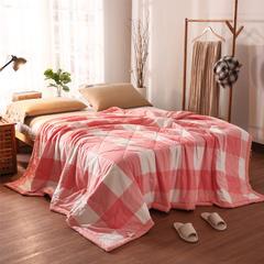 全棉色织水洗棉夏被 150x200cm 粉大格