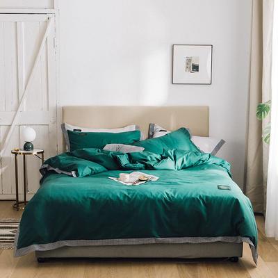 春皖40s贡棉13372撞色宽边系列四件套 1.2m(4英尺)床四件套 千鸟森林绿