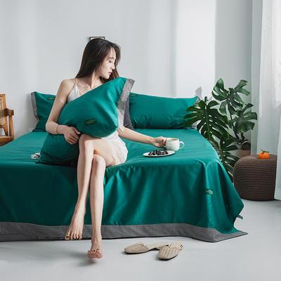 40s贡棉13372撞色宽边系列单床单 180cmx230cm 千鸟森林绿