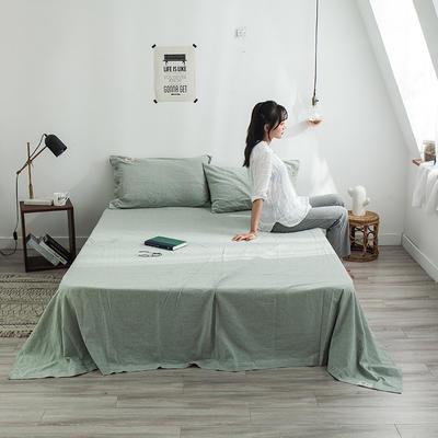 全棉棉麻风格自由棉单床单 200cmx230cm 薄荷绿