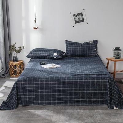 全棉棉麻风格自由棉单床单 160cmx230cm 玄青黑
