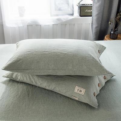 全棉棉麻风格自由棉单枕套 48cmX74cm一对 薄荷绿