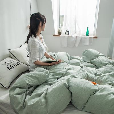 全棉棉麻风格自由棉单被套 150x200cm 薄荷绿