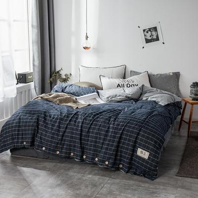 全棉棉麻风格自由棉单被套 150x200cm 玄青黑