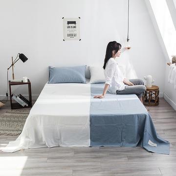网红款全棉色织水洗棉单床单