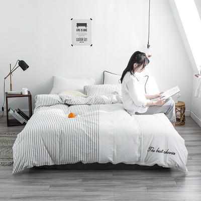 网红全棉色织水洗棉套件 1.2m(4英尺)床(三件套) 白色纯真