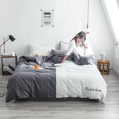 网红全棉色织水洗棉套件 1.2m(4英尺)床(三件套) 月白之夜
