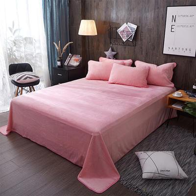 奶牛绒+全棉色织水洗棉床单单件 180cmx230cm 粉色小调