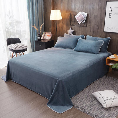 奶牛绒+全棉色织水洗棉床单单件 180cmx230cm 蓝色小调