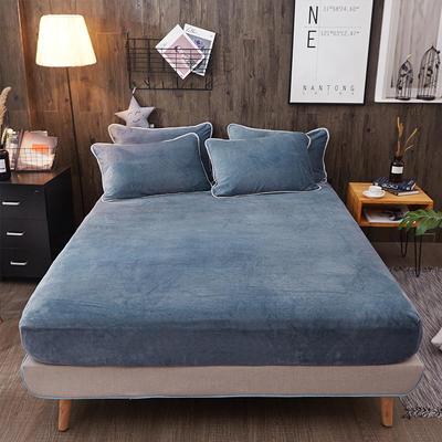 奶牛绒+全棉色织水洗棉床笠单件 120cmx200cm+30cm 蓝色小调