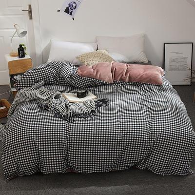 奶牛绒+全棉色织水洗棉被套单件 棉加绒单被套150x200cm 爱意