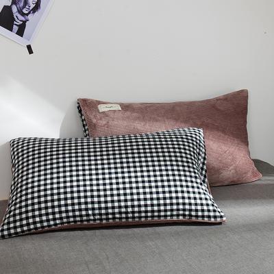 奶牛绒+全棉色织水洗棉枕套 48cmX74cm 爱意