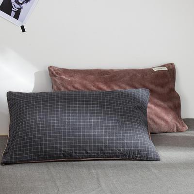 奶牛绒+全棉色织水洗棉枕套 48cmX74cm 执着