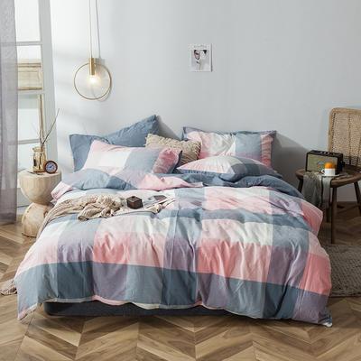 全棉色织水洗棉新花型四件套 1.2米床单款四件套 爱熏格