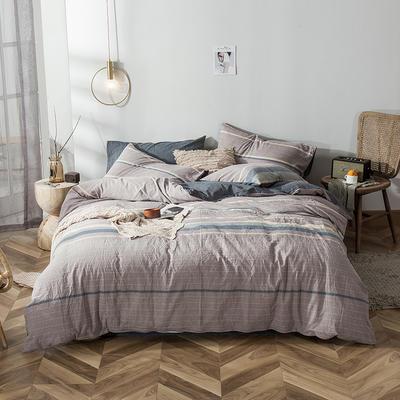 全棉色织水洗棉新花型四件套 1.2米床单款四件套 紫薯灰
