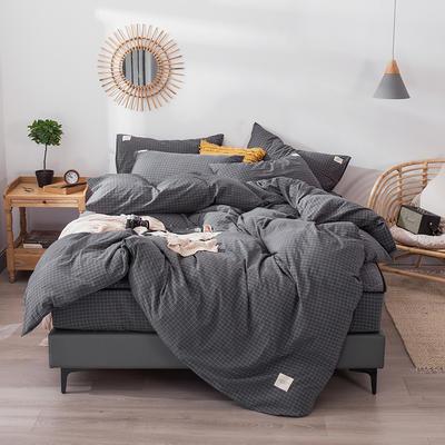 色织水洗棉夹棉床笠四件套 1.2米夹棉床笠三件套 夹棉小灰格