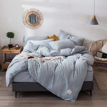 色织水洗棉夹棉床笠四件套