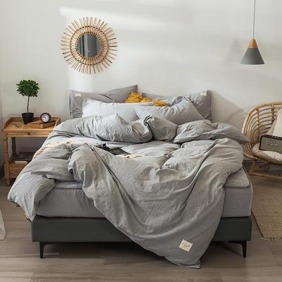 色织水洗棉夹棉床笠四件套 1.2米夹棉床笠三件套 夹棉冰山灰