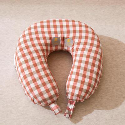 量子U型枕 量子砖红小格