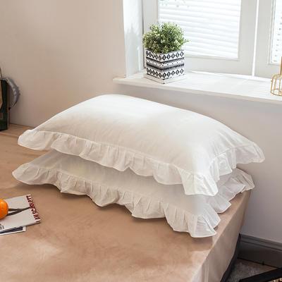 色织水洗棉花边枕套 48cmX74cm 花边白白白