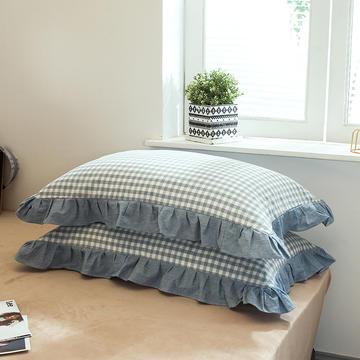 色织水洗棉花边枕套