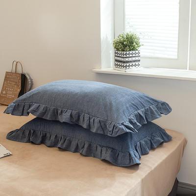 色织水洗棉花边枕套 48cmX74cm 花边运动蓝