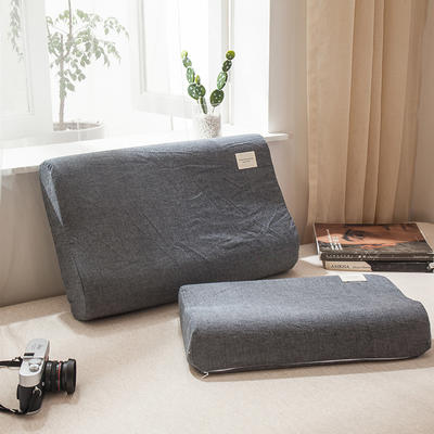 全棉色织水洗棉乳胶枕套 30cmX50cm 乳胶枕套低调灰