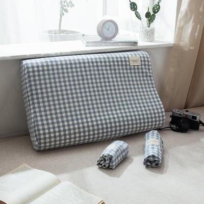 全棉色织水洗棉乳胶枕套 27*44 乳胶枕套水蓝小格