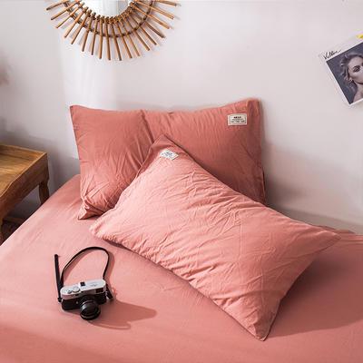 全棉染色水洗棉枕套 40cmX60cm/只 暗伤红