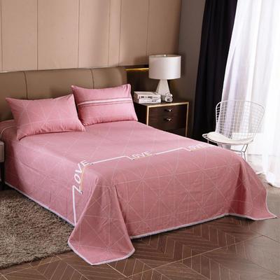 2020新款全棉加厚老粗布单床单 床单200*245cm love-豆沙