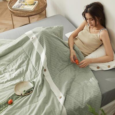 2020新款棉麻风自由棉-夏被四件套 1.5夏被+2.0床单+枕套1对 薄荷绿