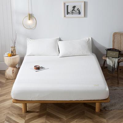 2020新款全棉色织水洗棉-单床笠 床笠90*200+15cm 白白白